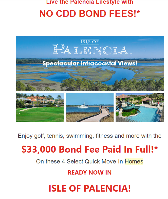 No CDD Bond Fees on select Palencia homes! - forbuyersonlyrealty@gmail.com - Gmail