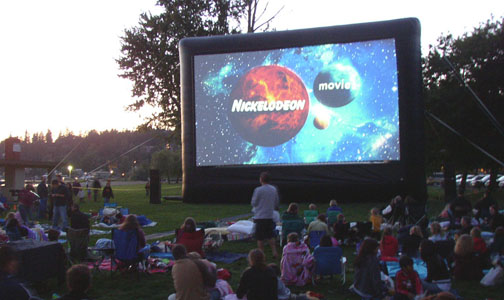 outdoor movie starting Riverfront Park Movie Night