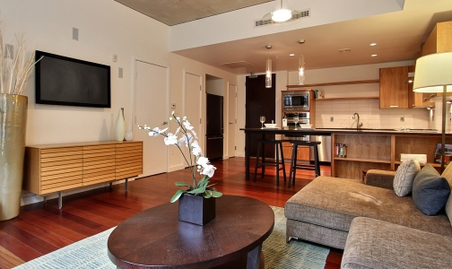 ONE 108 Living Room sized Just Sold:  ONE Riverfront #108