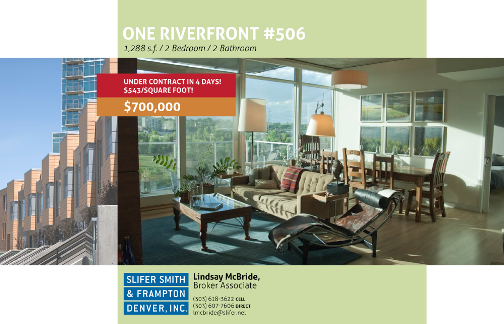 EFLYER ONE506 sold Just Sold:  ONE Riverfront #506 for $700,000