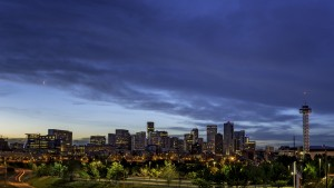 Moon over Denver in the morning twilight