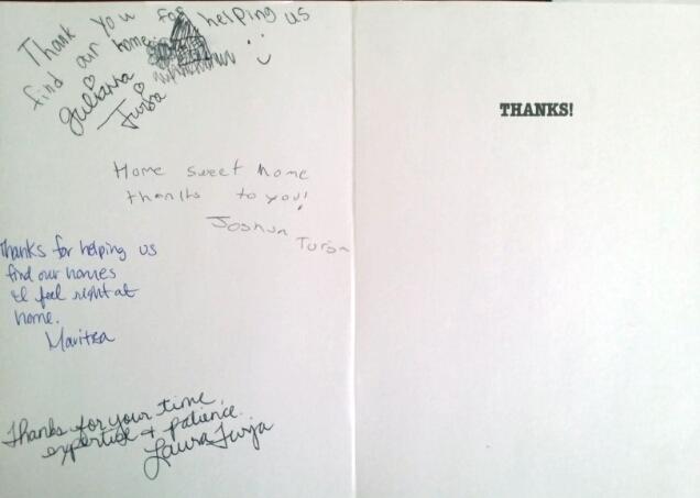 Denver Realtor Reviews: Thank You Card