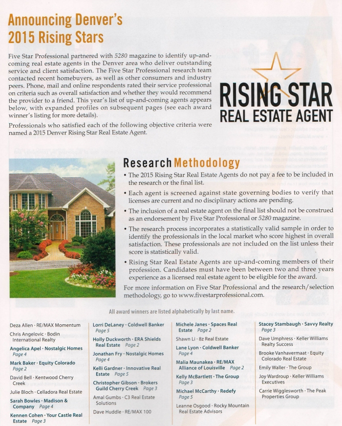 5280 Magazine Five Star Real Estate Agent Rising Star