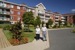 senior couple outdoors walking