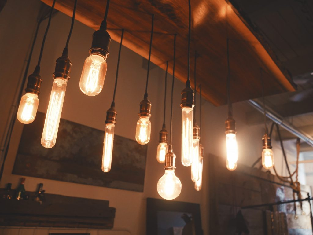 Various hanging Edison bulbs