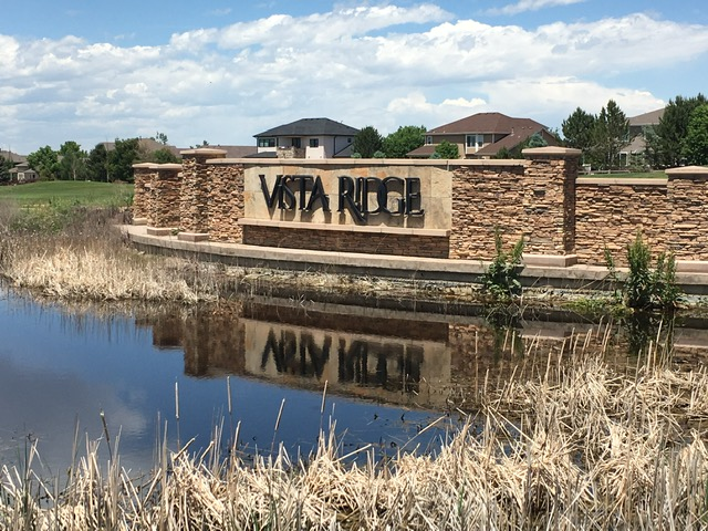 Neighborhood sign for Vista Ridge - Erie Neighborhood Information