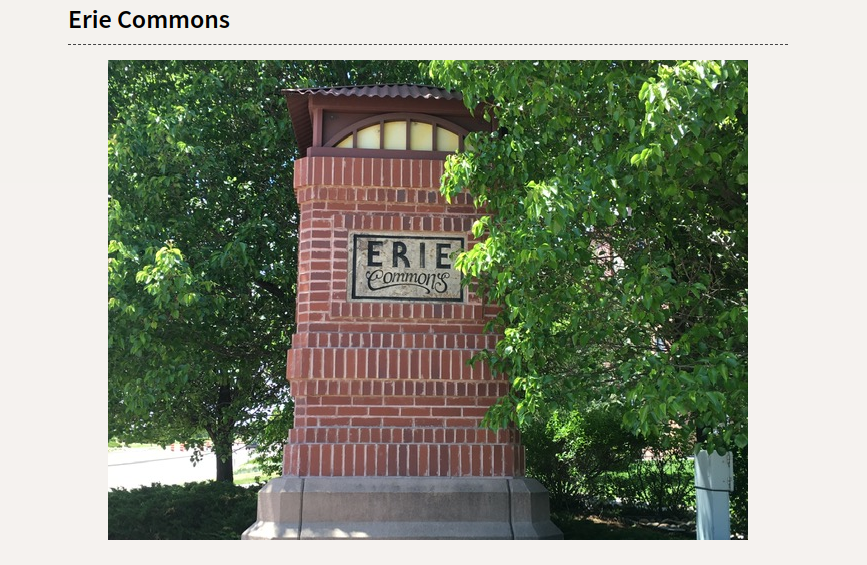 Photo of the Erie Commons neighborhood sign for the Erie Page.
