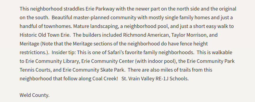 A screenshot of one of the neighborhood descriptions from the Erie Page - Erie Neighborhood Walkabout.