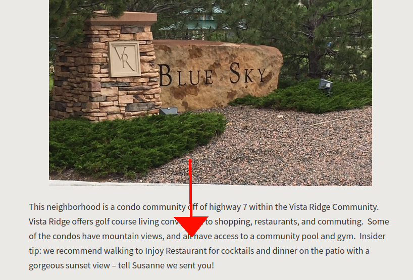 A screenshot of the Erie Page, showing the neighborhood sign and description for Blue Sky at Vista Ridge, featuring a shoutout to Injoy Restaurant.