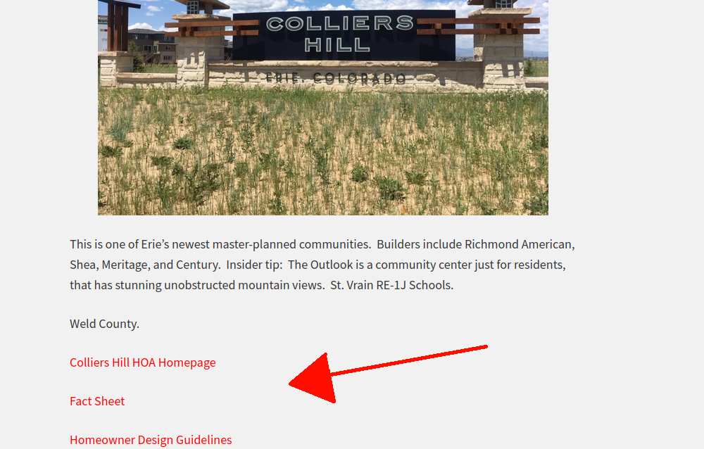 Screenshot of the Erie Page showing the neighborhood sign and information for Collier's Hill with the location of the HOA and regulatory PDFs highlighted by a red arrow.