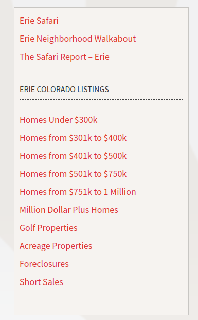 Screenshot of the sidebar of the site that has links to real estate searches using other criteria.