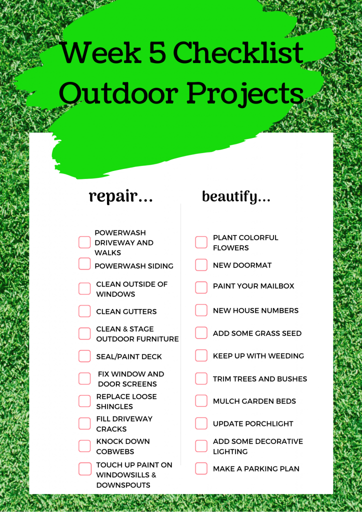 Printable checklist for outdoor projects for week 4 - Get Outside