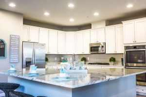 Grey, blue, and white uncluttered kitchen picture for kitchens and bathrooms blog