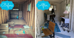 Before and after shot of the utility shed at the suburban tri level refresh