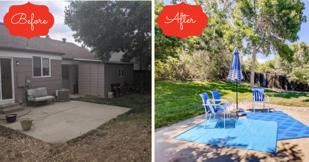 Before and after shot of the back yard landscaping at the suburban tri level refresh