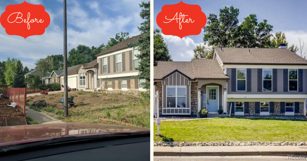 Before and after shot of the front yard of the suburban tri level refresh