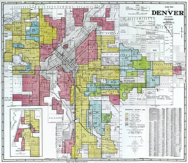 Redlining map of Denver
