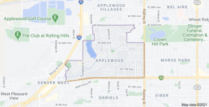 map of the borders of the Applewood neighborhood in Jefferson County, Colorado