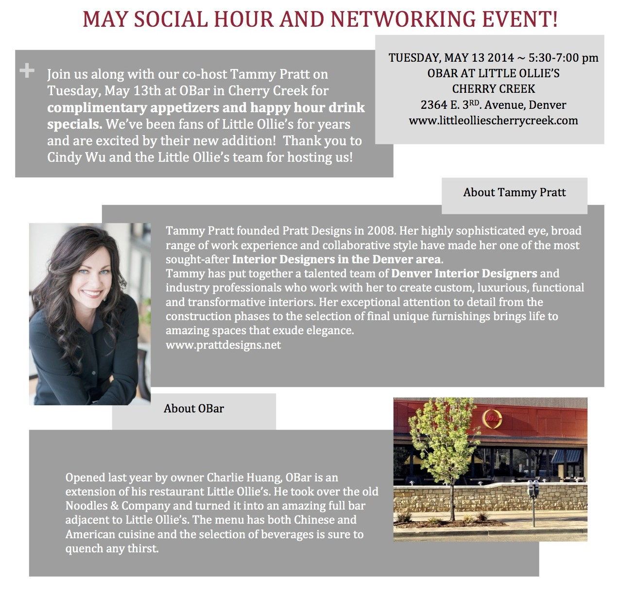 Networking Event Obar 5 13 copy e1398702293620 Denver Social Hour at OBar Cherry Creek