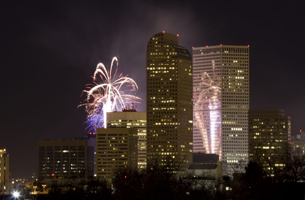 fireworks over Denver skyline