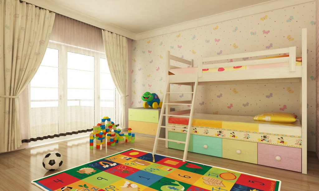 Child's Bedroom with plenty of storage space. Child's Bedroom