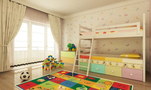 child's bedroom with plenty of storage space