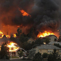 Colorado Wild Fires homes on fire
