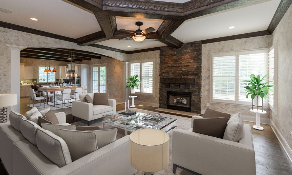 luxurious country french family room in Carmel