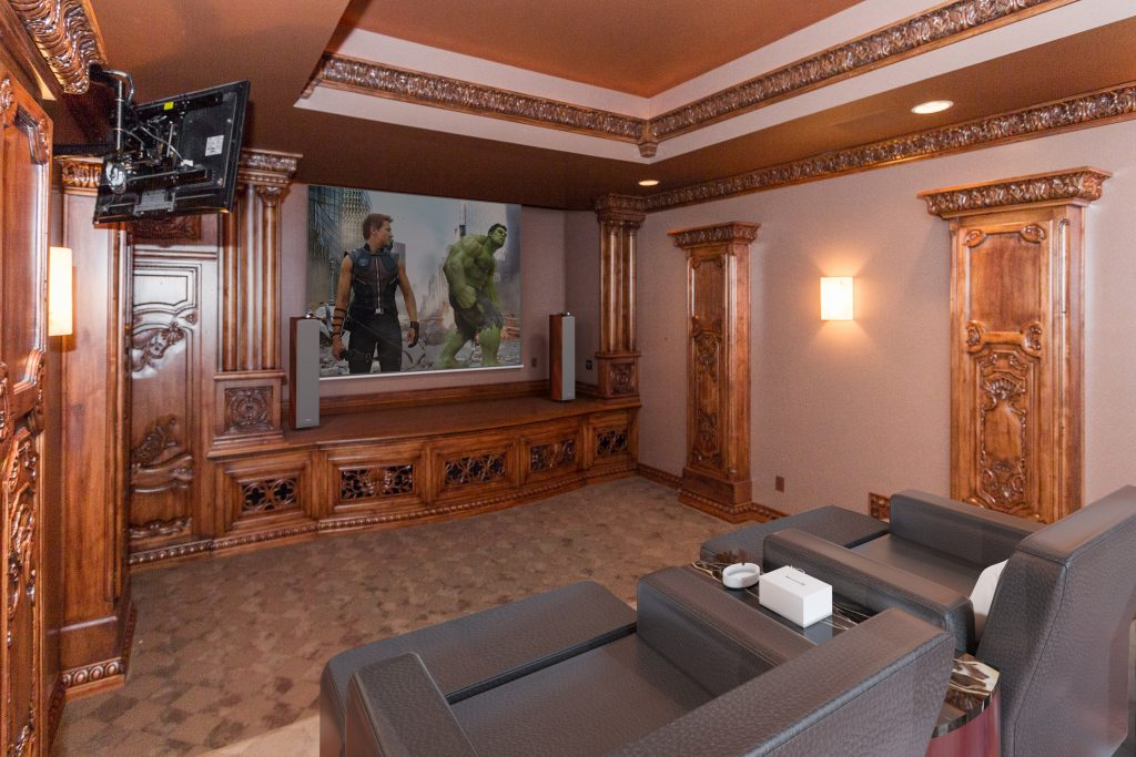Custom home theater with performance stage country french luxury Carmel