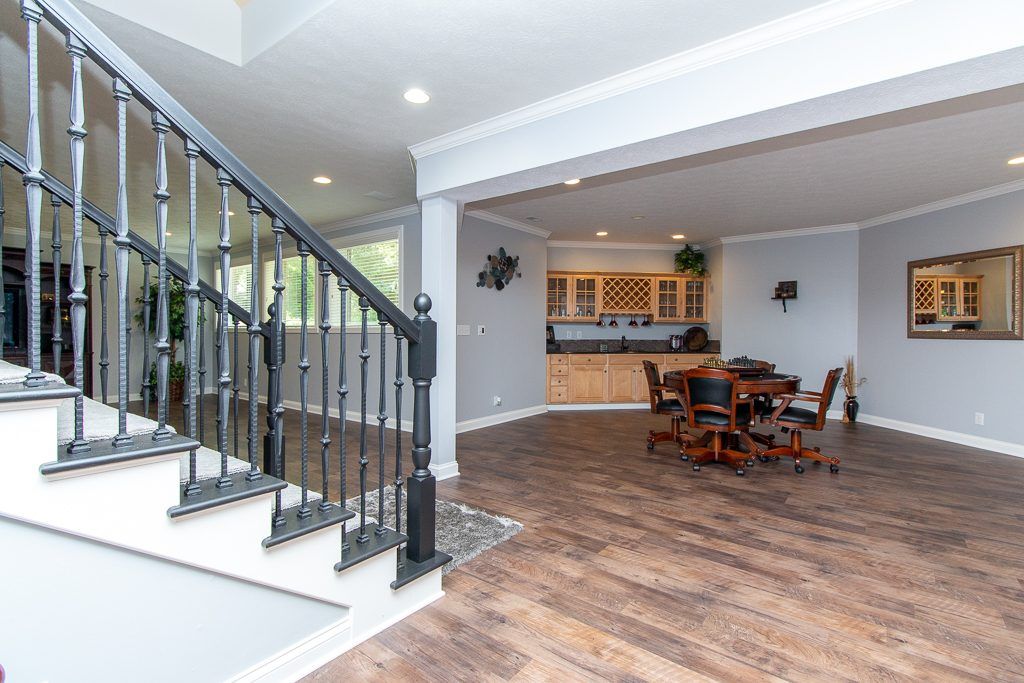 Open lower level with wet bar